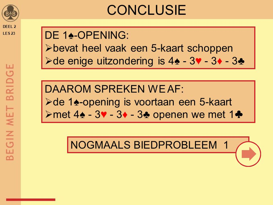 CONCLUSIE DE 1♠-OPENING: bevat heel vaak een 5-kaart schoppen