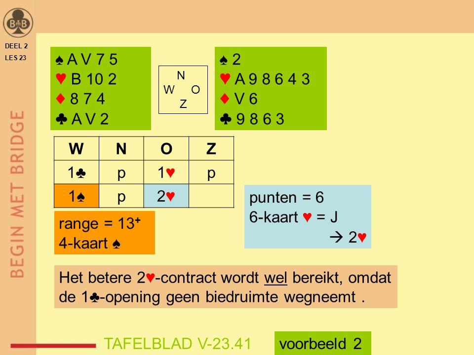 DEEL 2 LES 23. ♠ A V 7 5. ♥ B 10 2. ♦ 8 7 4. ♣ A V 2. ♠ 2. ♥ A 9 8 6 4 3. ♦ V 6. ♣ 9 8 6 3.