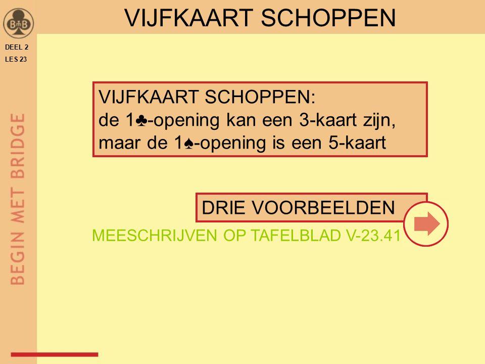 VIJFKAART SCHOPPEN DEEL 2. LES 23. VIJFKAART SCHOPPEN: de 1♣-opening kan een 3-kaart zijn, maar de 1♠-opening is een 5-kaart.