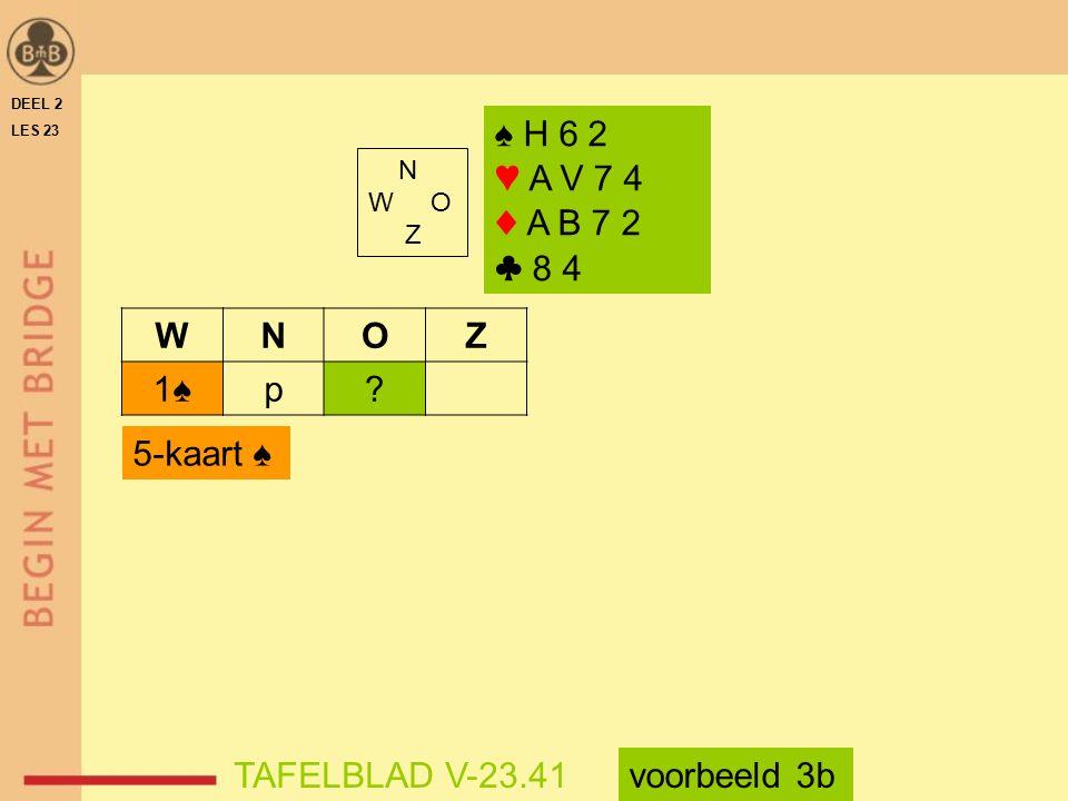 ♠ H 6 2 ♥ A V 7 4 ♦ A B 7 2 ♣ 8 4 W N O Z 1♠ p 5-kaart ♠