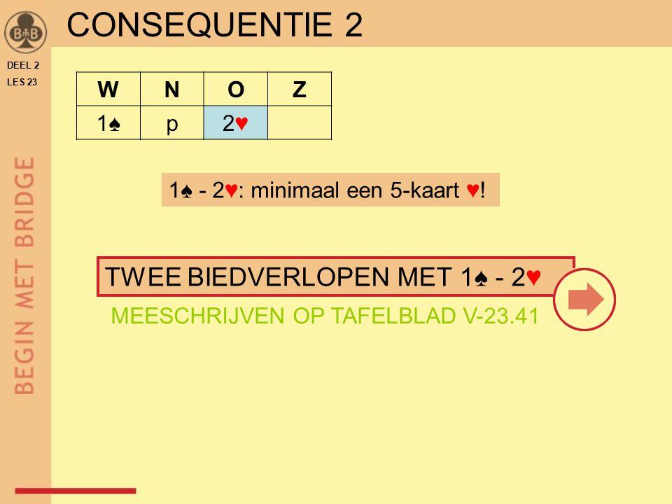 CONSEQUENTIE 2 TWEE BIEDVERLOPEN MET 1♠ - 2♥ W N O Z 1♠ p 2♥
