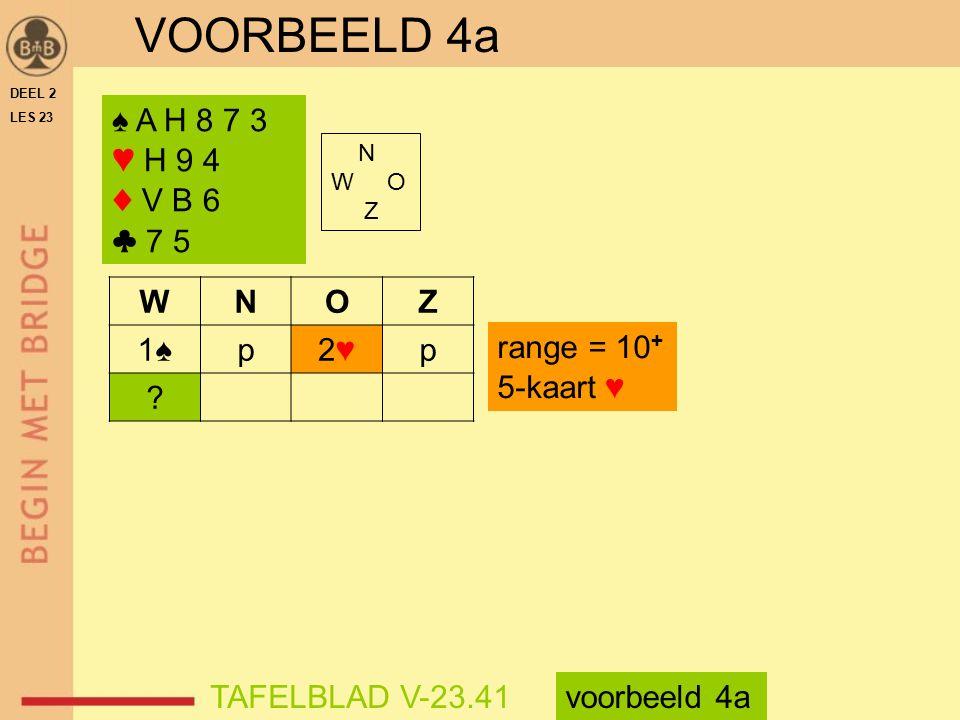 VOORBEELD 4a ♠ A H 8 7 3 ♥ H 9 4 ♦ V B 6 ♣ 7 5 W N O Z 1♠ p 2♥
