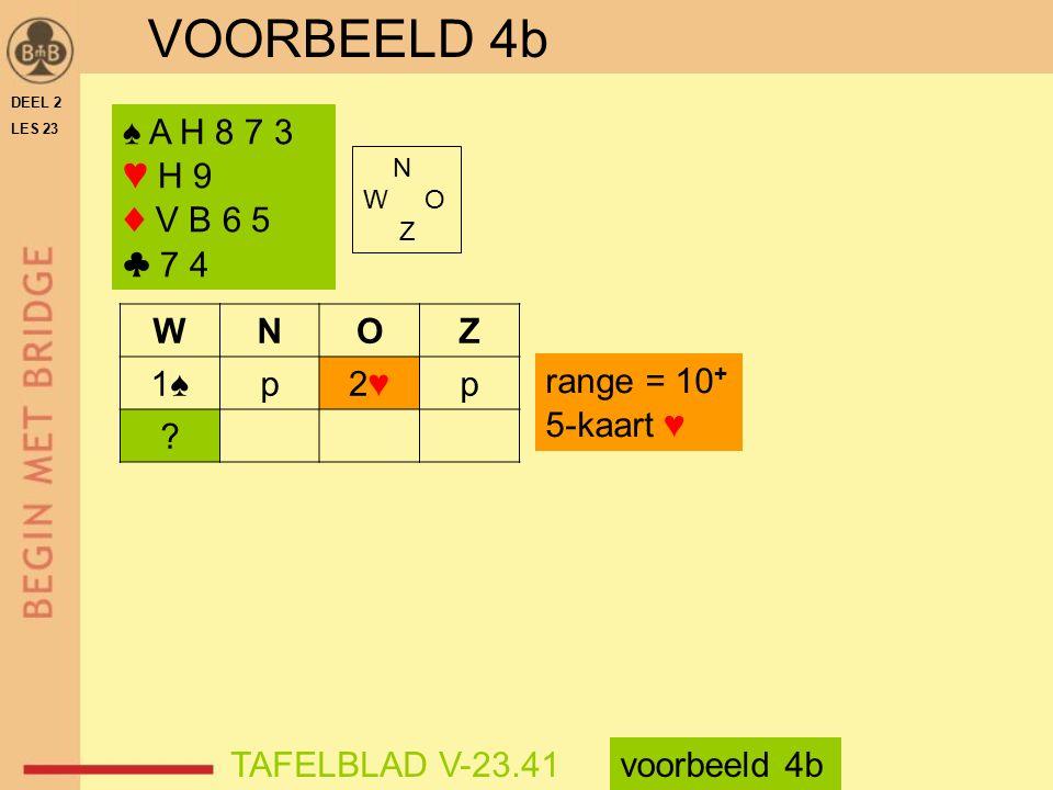 VOORBEELD 4b ♠ A H 8 7 3 ♥ H 9 ♦ V B 6 5 ♣ 7 4 W N O Z 1♠ p 2♥