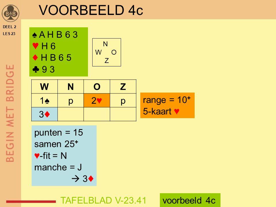 VOORBEELD 4c ♠ A H B 6 3 ♥ H 6 ♦ H B 6 5 ♣ 9 3 W N O Z 1♠ p 2♥ 3♦