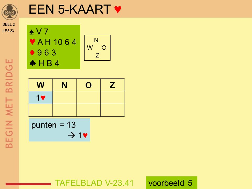 EEN 5-KAART ♥ ♠ V 7 ♥ A H 10 6 4 ♦ 9 6 3 ♣ H B 4 W N O Z 1♥