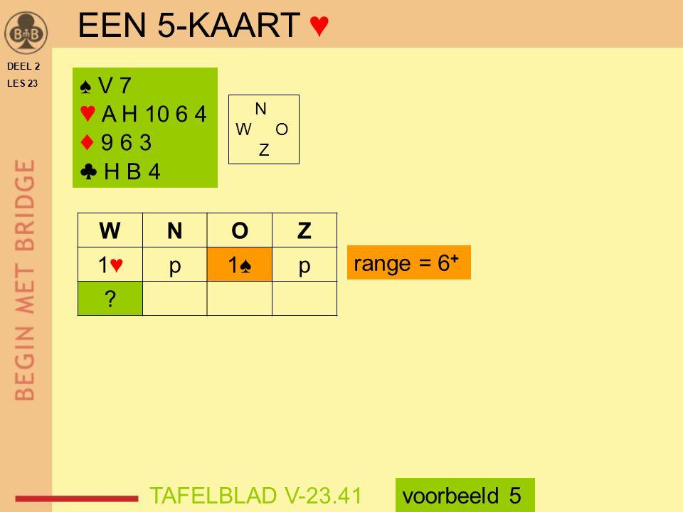 EEN 5-KAART ♥ ♠ V 7 ♥ A H 10 6 4 ♦ 9 6 3 ♣ H B 4 W N O Z 1♥ p 1♠