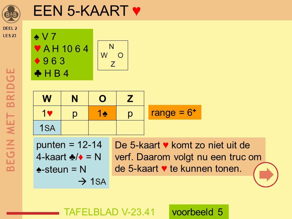 EEN 5-KAART ♥ ♠ V 7 ♥ A H 10 6 4 ♦ 9 6 3 ♣ H B 4 W N O Z 1♥ p 1♠ 1SA