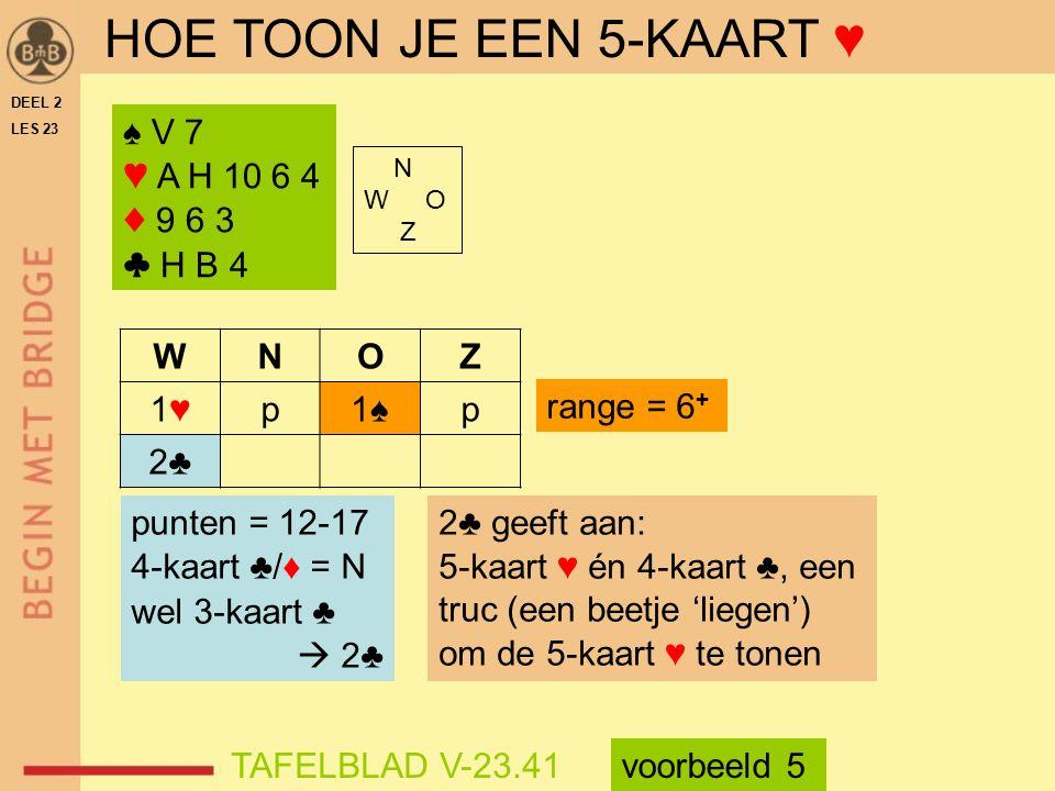 HOE TOON JE EEN 5-KAART ♥ ♠ V 7 ♥ A H 10 6 4 ♦ 9 6 3 ♣ H B 4 W N O Z