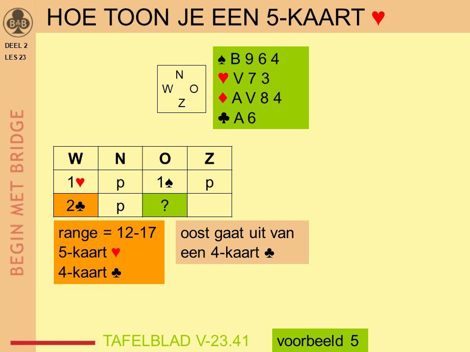 HOE TOON JE EEN 5-KAART ♥ ♠ B 9 6 4 ♥ V 7 3 ♦ A V 8 4 ♣ A 6 W N O Z 1♥