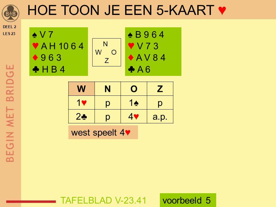 HOE TOON JE EEN 5-KAART ♥ ♠ V 7 ♥ A H 10 6 4 ♦ 9 6 3 ♣ H B 4 ♠ B 9 6 4