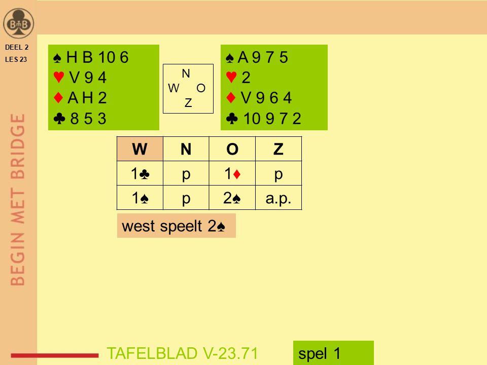 DEEL 2 LES 23. ♠ H B 10 6. ♥ V 9 4. ♦ A H 2. ♣ 8 5 3. ♠ A 9 7 5. ♥ 2. ♦ V 9 6 4. ♣ 10 9 7 2.