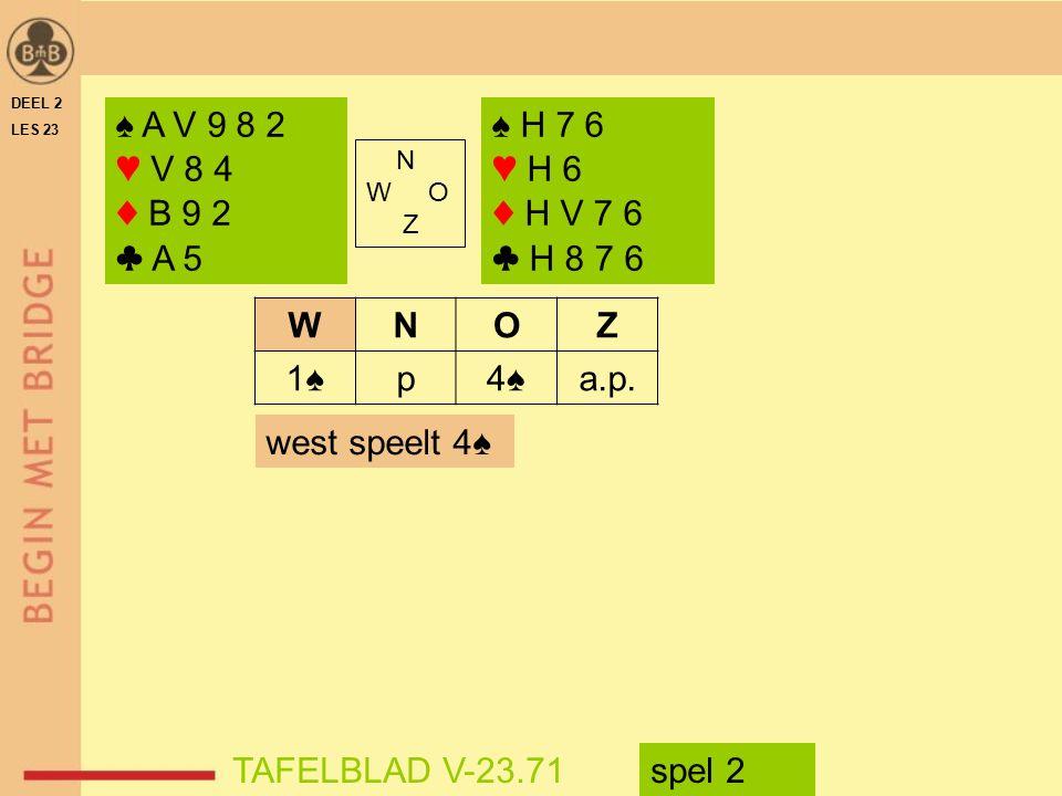 DEEL 2 LES 23. ♠ A V 9 8 2. ♥ V 8 4. ♦ B 9 2. ♣ A 5. ♠ H 7 6. ♥ H 6. ♦ H V 7 6. ♣ H 8 7 6. N.
