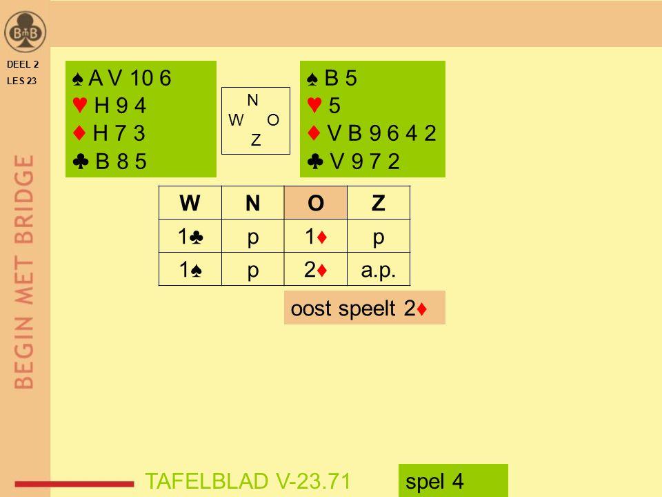 DEEL 2 LES 23. ♠ A V 10 6. ♥ H 9 4. ♦ H 7 3. ♣ B 8 5. ♠ B 5. ♥ 5. ♦ V B 9 6 4 2. ♣ V 9 7 2.