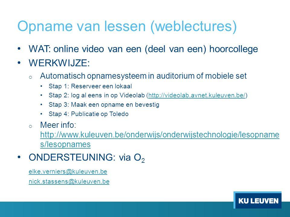Opname van lessen (weblectures)