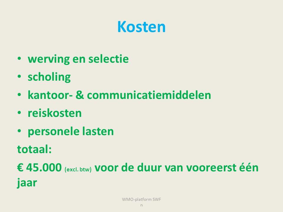 Kosten werving en selectie scholing kantoor- & communicatiemiddelen