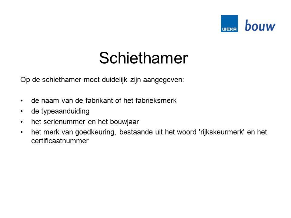 Schiethamer Op de schiethamer moet duidelijk zijn aangegeven: