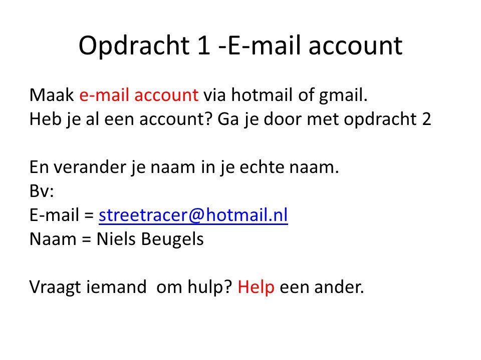 Opdracht 1 -E-mail account