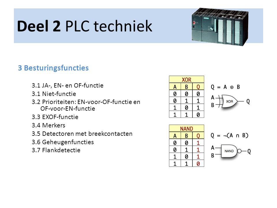 Deel 2 PLC techniek 3 Besturingsfuncties 3.1 JA-, EN- en OF-functie