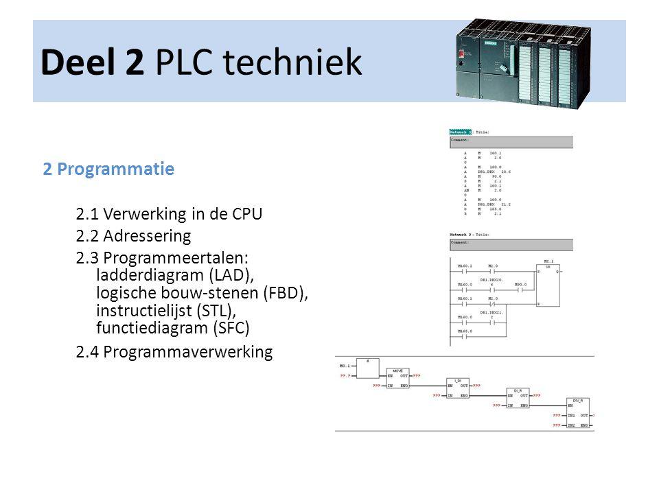 Deel 2 PLC techniek 2 Programmatie 2.1 Verwerking in de CPU