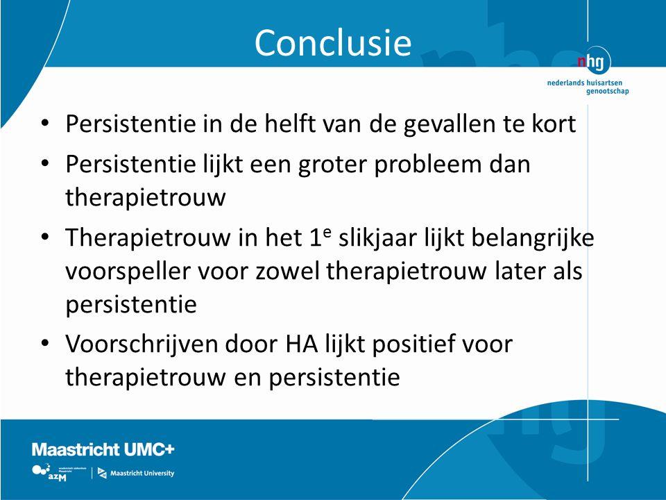 Conclusie Persistentie in de helft van de gevallen te kort