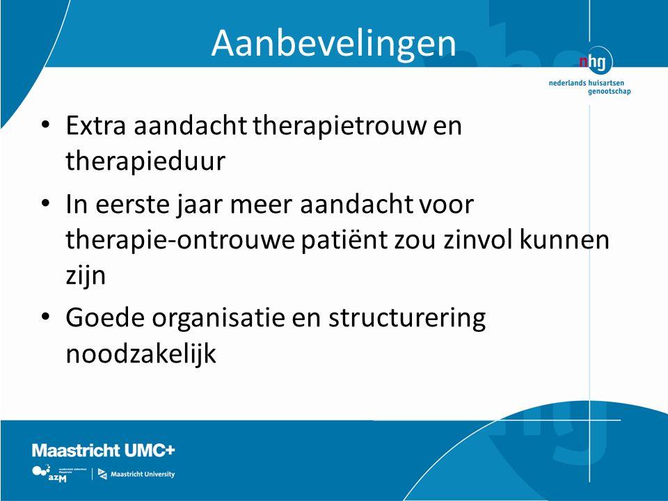 Aanbevelingen Extra aandacht therapietrouw en therapieduur