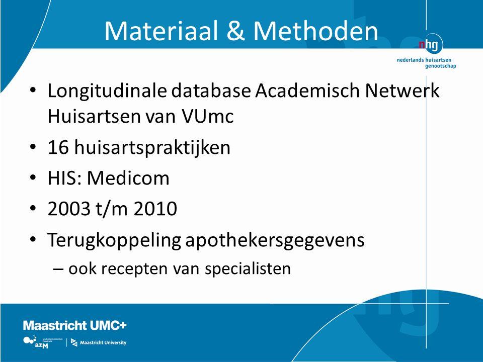 Materiaal & Methoden Longitudinale database Academisch Netwerk Huisartsen van VUmc. 16 huisartspraktijken.