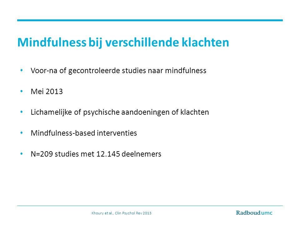 Mindfulness bij verschillende klachten