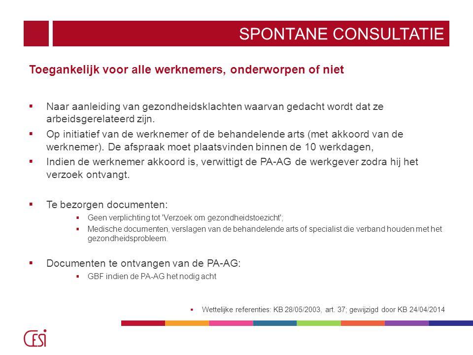 Spontane consultatie Toegankelijk voor alle werknemers, onderworpen of niet.