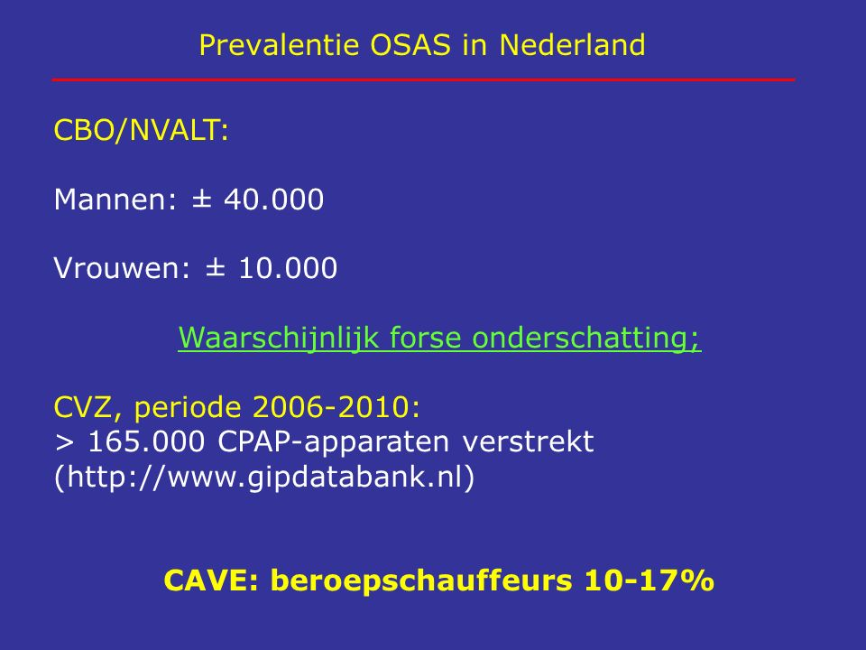 Prevalentie OSAS in Nederland