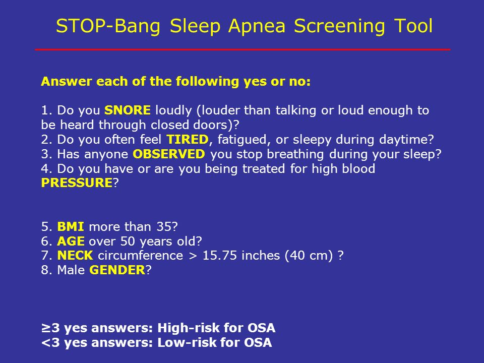 STOP-Bang Sleep Apnea Screening Tool