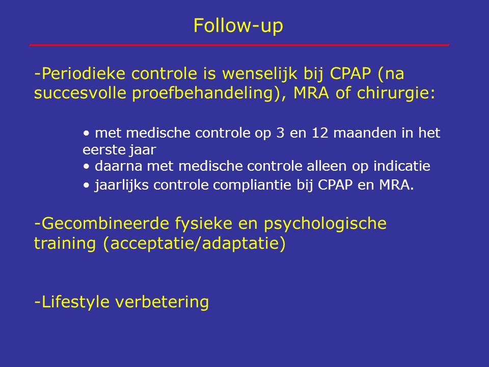 Follow-up -Periodieke controle is wenselijk bij CPAP (na succesvolle proefbehandeling), MRA of chirurgie: