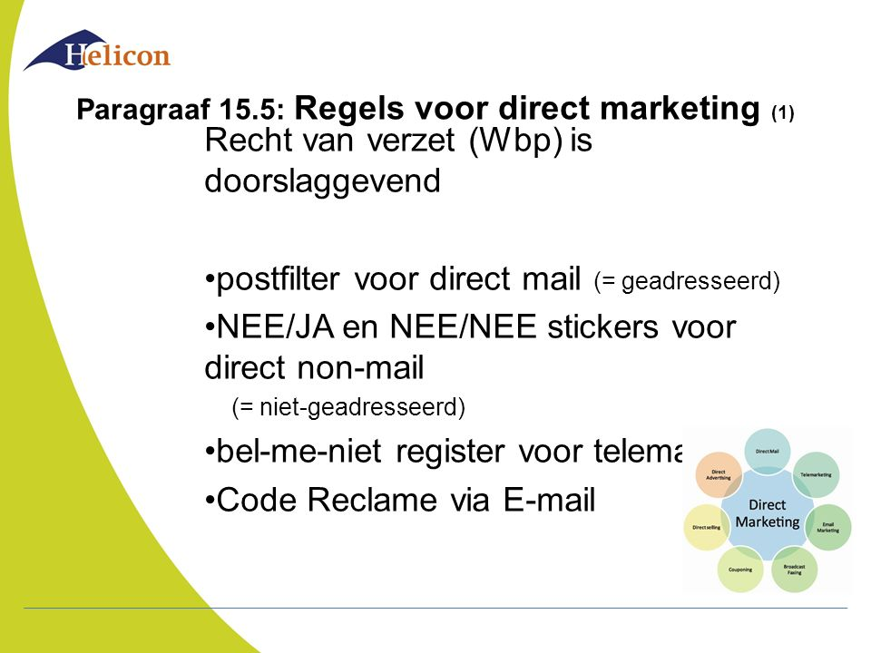 Paragraaf 15.5: Regels voor direct marketing (1)