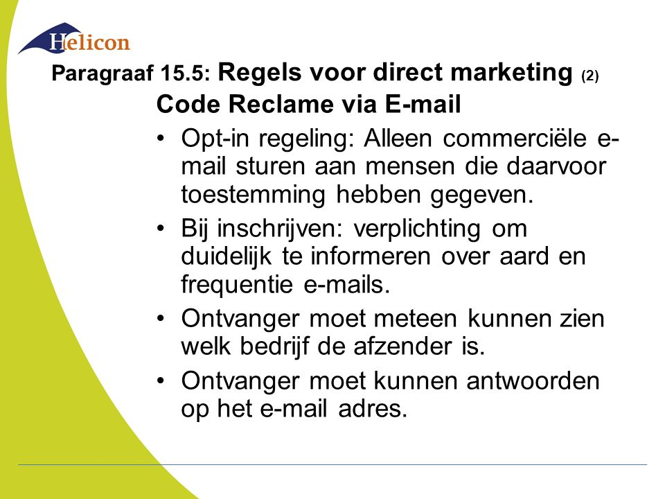 Paragraaf 15.5: Regels voor direct marketing (2)