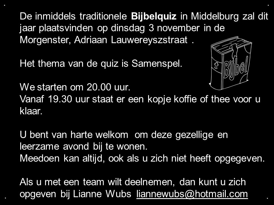 Het thema van de quiz is Samenspel. We starten om 20.00 uur.