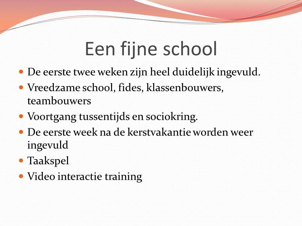 Een fijne school De eerste twee weken zijn heel duidelijk ingevuld.