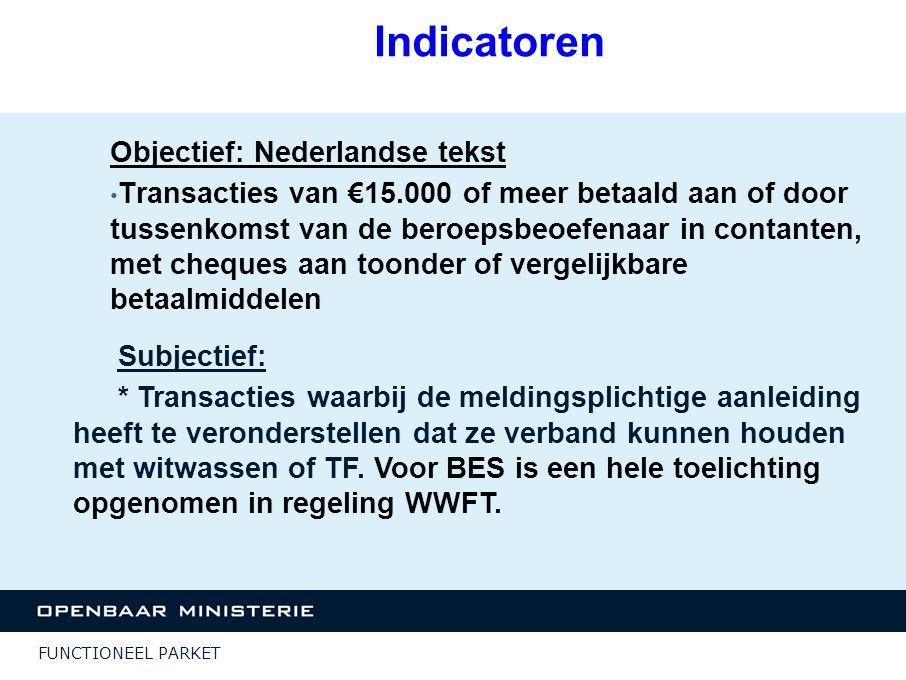 Indicatoren Objectief: Nederlandse tekst