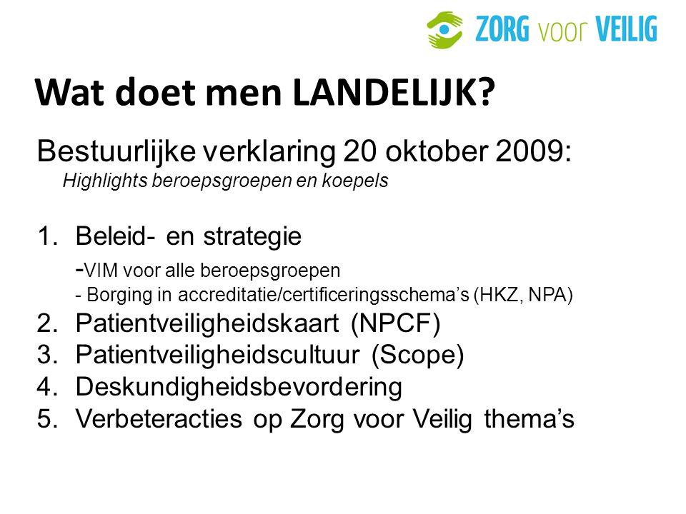 Wat doet men LANDELIJK Bestuurlijke verklaring 20 oktober 2009: Highlights beroepsgroepen en koepels.
