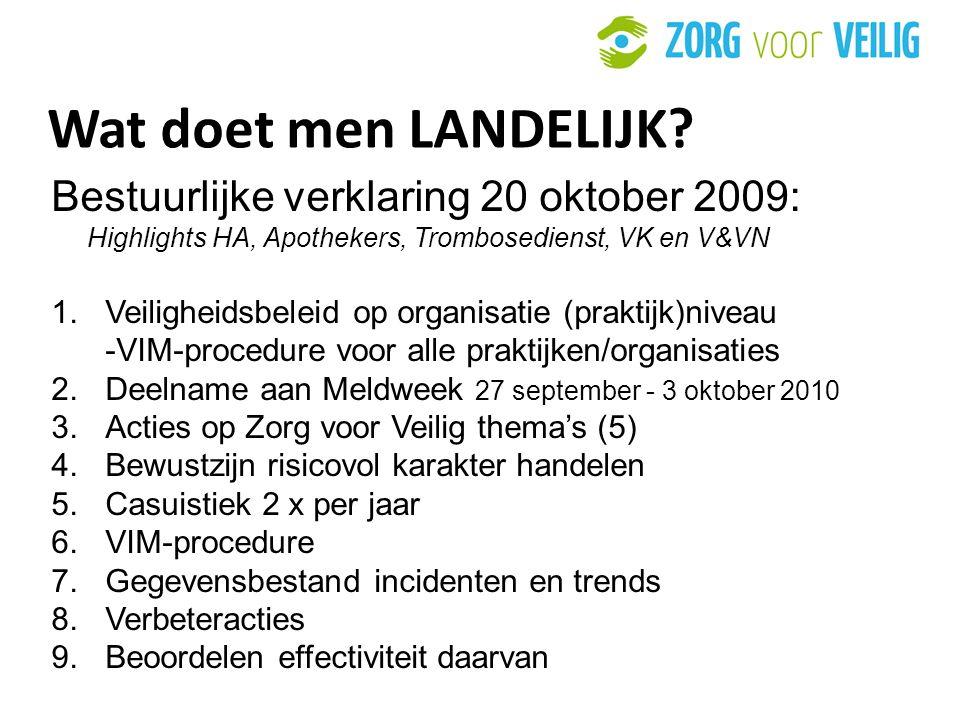 Wat doet men LANDELIJK Bestuurlijke verklaring 20 oktober 2009: Highlights HA, Apothekers, Trombosedienst, VK en V&VN.