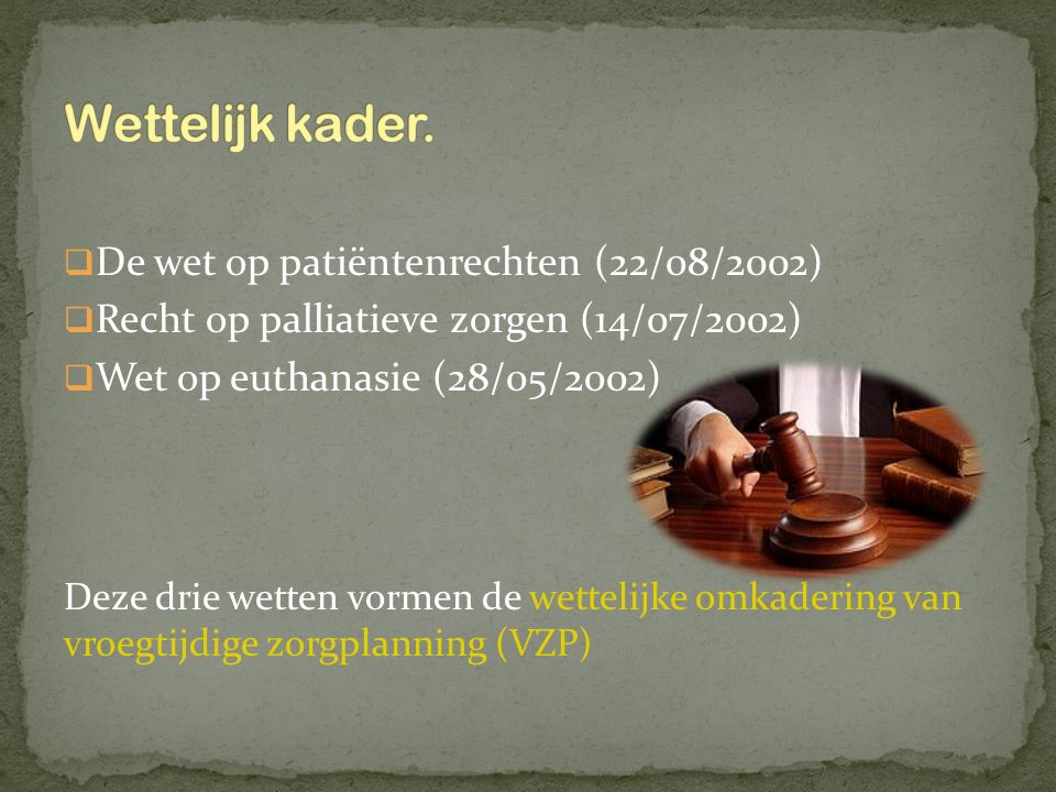Wettelijk kader. De wet op patiëntenrechten (22/08/2002)