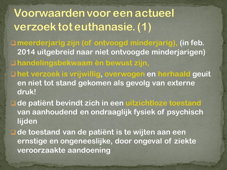 Voorwaarden voor een actueel verzoek tot euthanasie. (1)