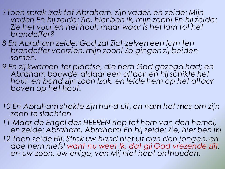 7 Toen sprak Izak tot Abraham, zijn vader, en zeide: Mijn vader