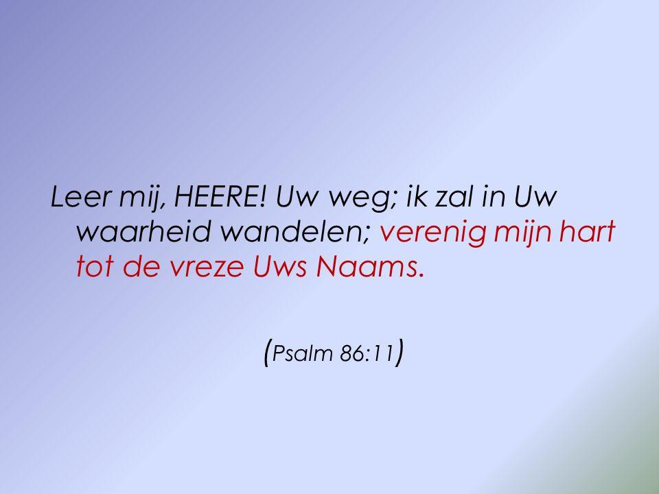Leer mij, HEERE. Uw weg; ik zal in Uw waarheid wandelen; verenig mijn hart tot de vreze Uws Naams.