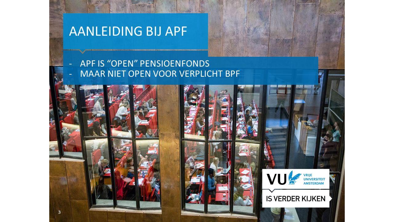 Aanleiding bij apf APF is open pensioenfonds