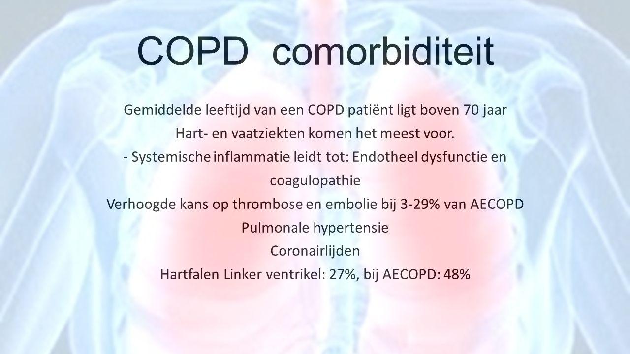 COPD comorbiditeit Gemiddelde leeftijd van een COPD patiënt ligt boven 70 jaar. Hart- en vaatziekten komen het meest voor.