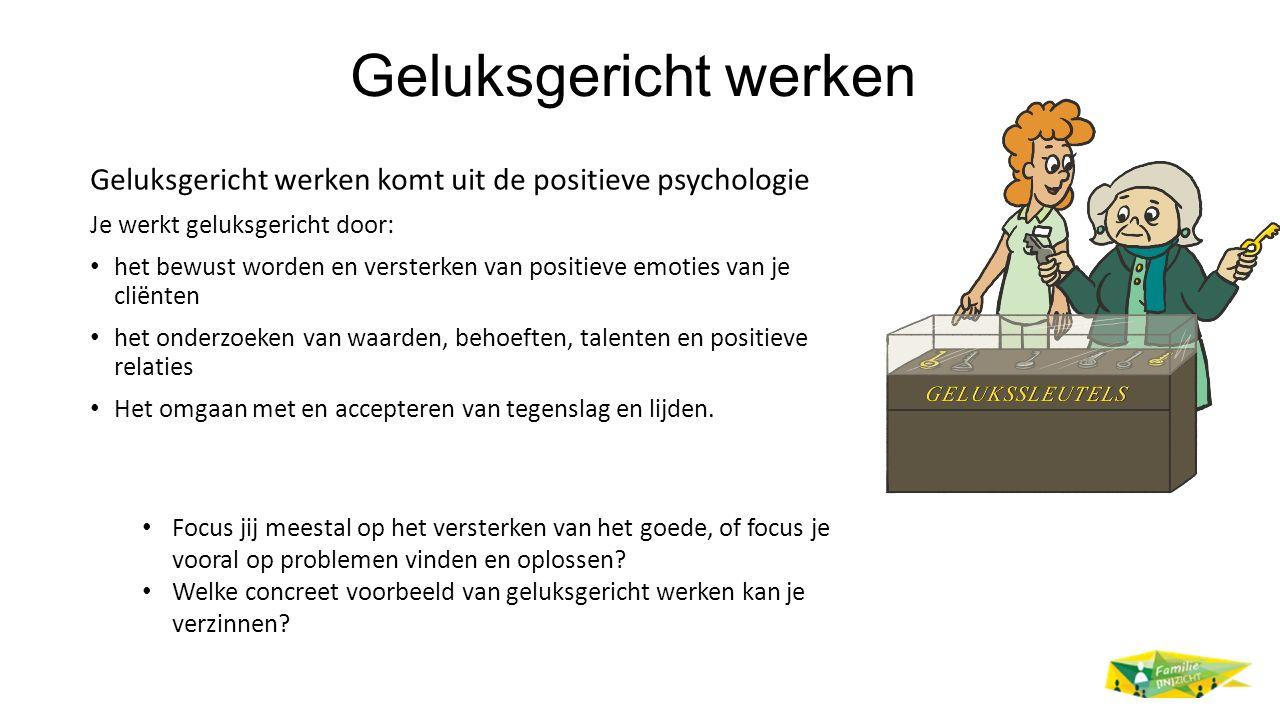 Geluksgericht werken Geluksgericht werken komt uit de positieve psychologie. Je werkt geluksgericht door: