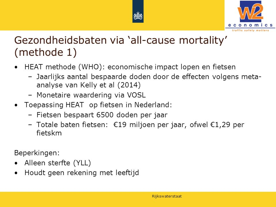 Gezondheidsbaten via 'all-cause mortality' (methode 1)