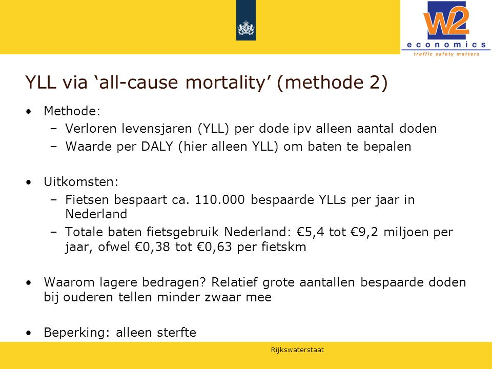 YLL via 'all-cause mortality' (methode 2)