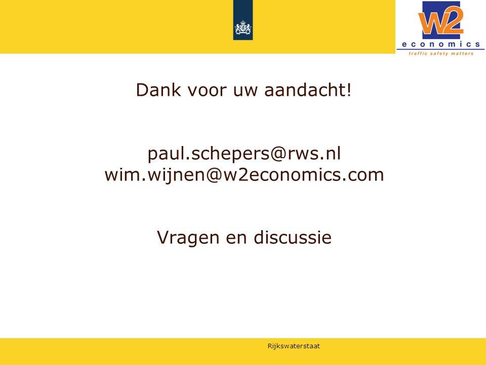 Dank voor uw aandacht. paul. schepers@rws. nl wim. wijnen@w2economics