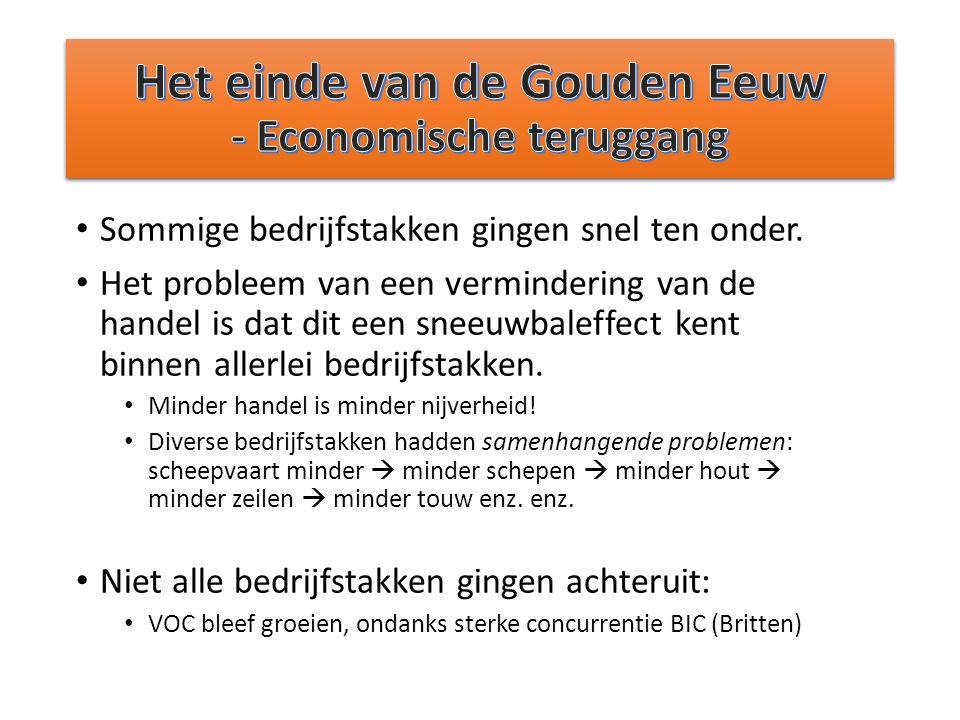 Het einde van de Gouden Eeuw - Economische teruggang