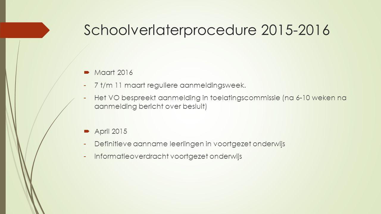 Schoolverlaterprocedure 2015-2016